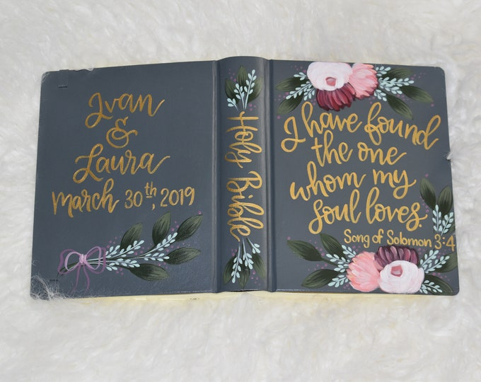Hand Painted Bible // Wedding Guest Book Alternative // Personal Keepsake