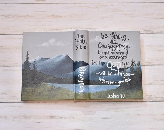 Hand Painted Bible // Landscape Mountain Pine Bible // Lake View // Joshua 1:9 // Personalized Keepsake