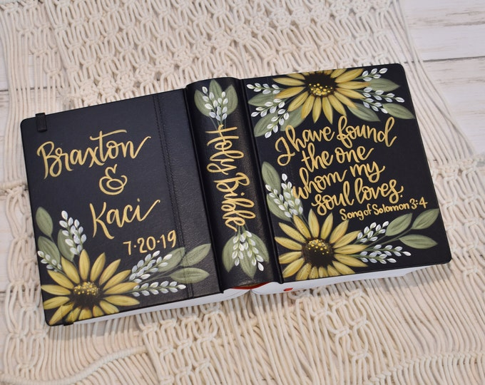 Hand Painted Bible // Sunflowers // Personal Bible // Personalized Keepsake
