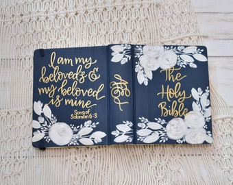 Hand Painted Bible // White Roses // Personalized Gift // Personal Keepsake
