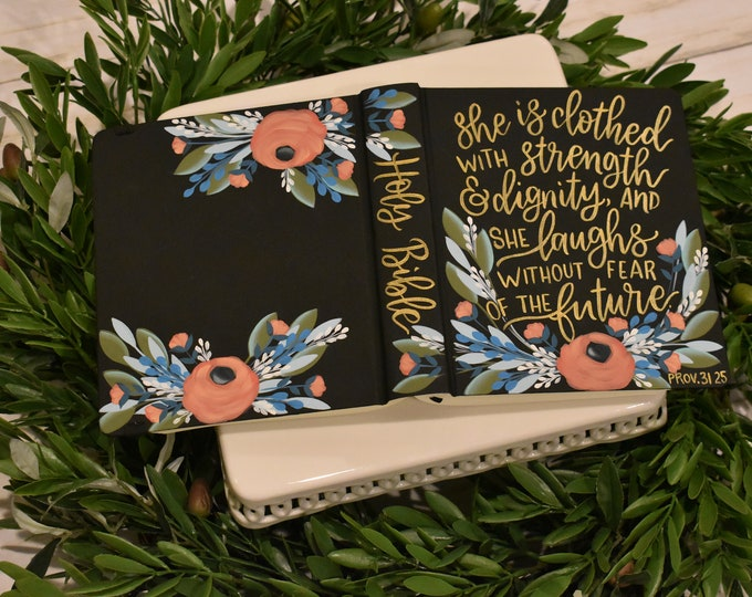 Hand Painted Bible// Baptism Gift // Graduation Gift // Personalized Keepsake