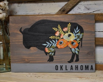 Floral Buffalo | Oklahoma | Rustic Farmhouse Decor | Cottage Farmhouse Decor | Hand Painted
