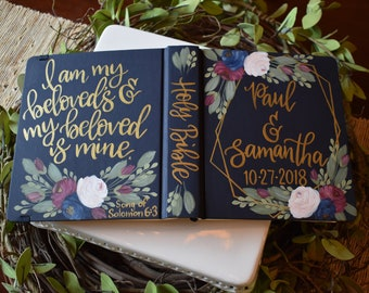 Custom Hand Painted Bible | Wedding Guestbook Alternative | Song of Sol 6:3 | Personalized Keepsake
