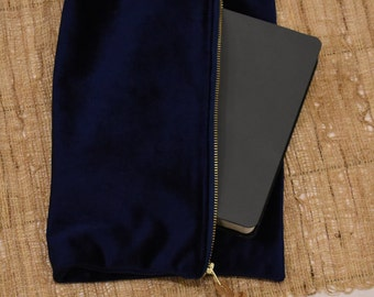 Bible Case // Navy Blue Velvet // Clutch Handbag // Zipper Pouch Bag