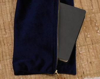 Bible Bag // Navy Blue Velvet // Clutch Handbag // Zipper Pouch Bag