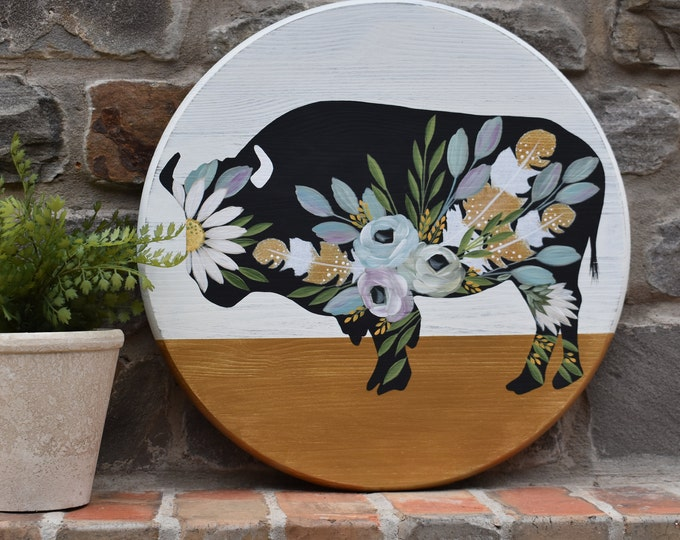 Floral Buffalo | Cottage Farmhouse Florals | Hand Painted