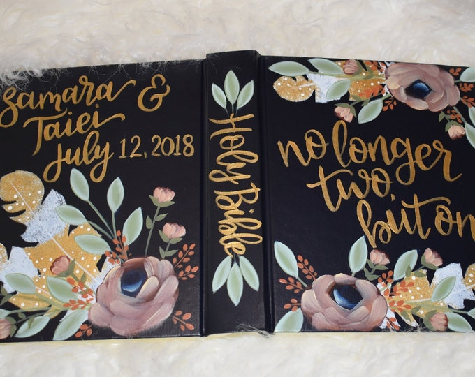 Hand Painted Bible // Wedding Guest Book Alternative // Personalized Keepsake