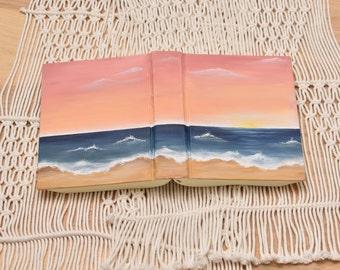 Hand Painted Bible // Pink Beach scene // Personalized Keepsake
