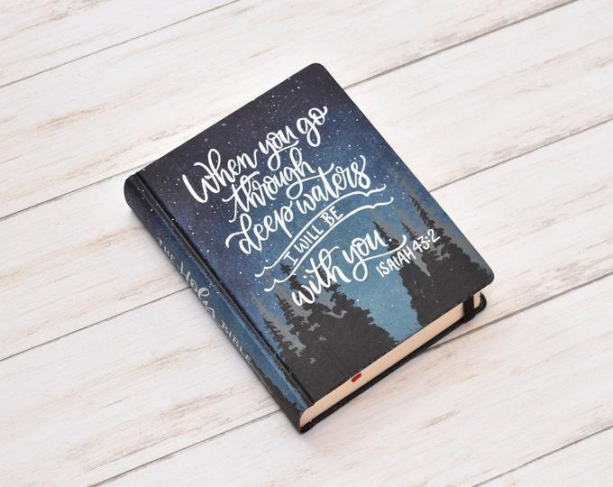 Hand Painted Bible // Landscape Bible // Night Sky Pines // Isaiah 43:2 // Personalized Keepsake
