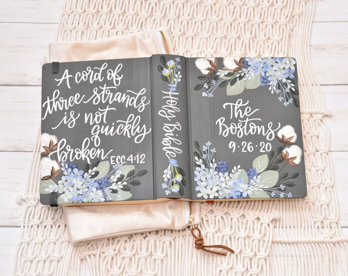 Custom Hand Painted Bible // Specialized Floral Design // Cotton Stems and Florals // Personal Bible Keepsake