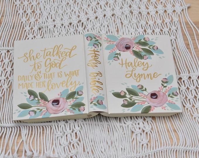 Hand Painted Bible // Baptism Gift // Graduation Gift // Baby Shower Gift // Personalized Keepsake
