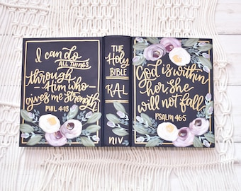 Hand Painted Bible // Specialized Floral // Personal Bible // Personalized Keepsake