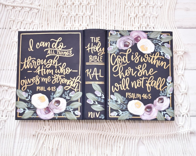 Hand Painted Bible // Personal Bible // Personalized Keepsake