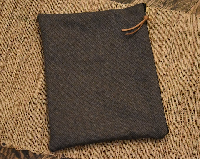 XL Bible Case // Dark Gray Tweed // Zipper Pouch Bag