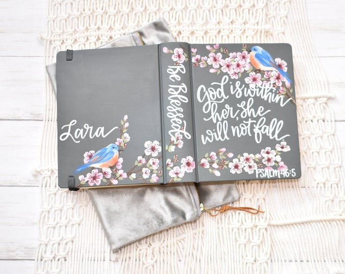 Hand Painted Bibles // Specialized Floral Design // Cherry Blossoms // Blue Bird // Personalized Keepsake