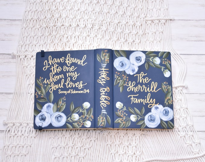 Hand Painted Bible // Specialized Floral Design // Peony Florals // Family Bible // Personal Keepsake