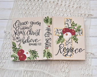 Hand Painted Bible // Rejoice // Holy Bible // Personalized Keepsake