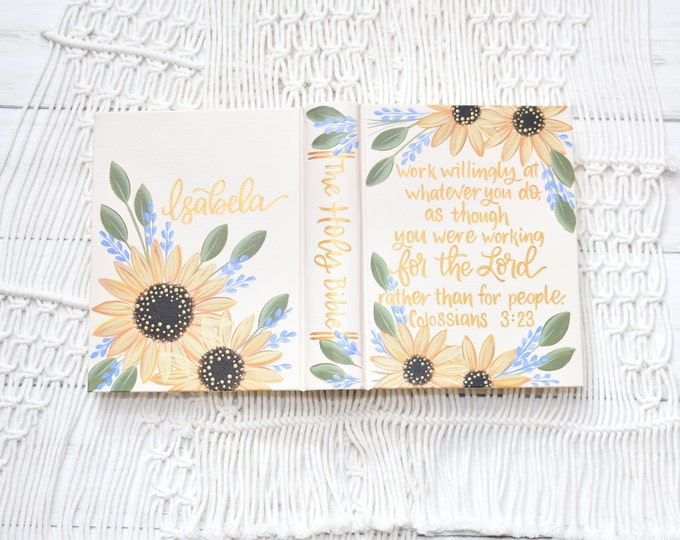 Hand Painted Bible // Speciality Floral Sunflower Design // Personalized Keepsake