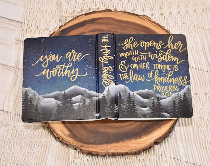 Hand Painted Bible // Mountain Landscape Bible // Pine Trees // Personalized Keepsake
