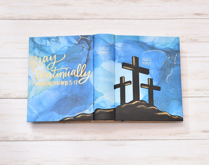 Hand Painted Bible // Quick Ship // Cross Design // Personalized Keepsake