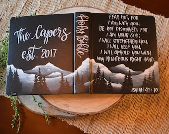 Hand Painted Bible // Mountain Landscape // Personalized Keepsake