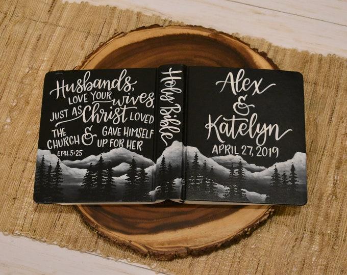 Hand Painted Bible // Mountain Landscape // Quick Ship // Personalized Keepsake