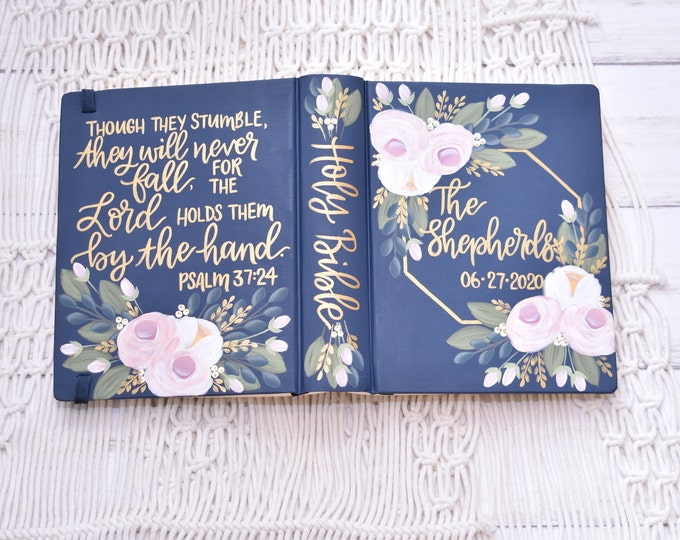 Hand Painted Bible // Wedding Bible // Guestbook Alternative // Personalized Keepsake