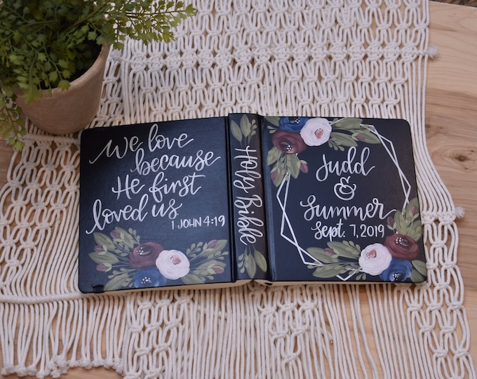 Hand Painted Bible, Wedding Guestbook Alternative, Personalized Keepsake