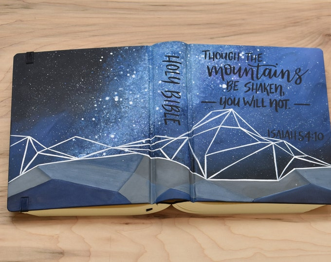 Hand Painted Bible // Geometric Mountains // Galaxy Stars // Quick Ship