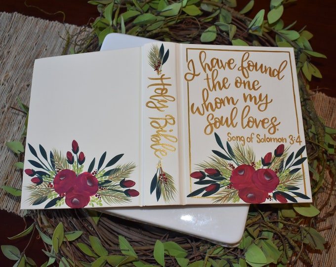 Hand Painted Bible // Christmas Wedding // Guest Book Alternative // Personalized Keepsake