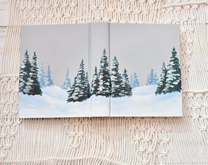 Hand Painted Bible // Snow Landscape // Winter Wedding Bible // Personalized Keepsake