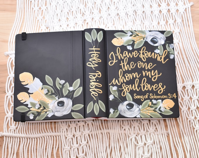 Hand Painted Bible // Wedding Gift // Guest Book Alternative // Personalized Wedding Keepsake