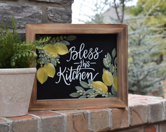 Home Decor | Lemons | Hand Painted Canvas Art | Kitchen Decor