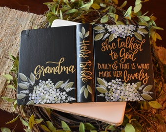 Hand Painted Bible // Grandmothers Gift // She talked to God daily // Hydrangeas // Personalized Keepsake