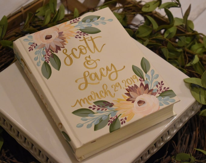 Hand Painted Bible // Specialized Floral Design // Family Keepsake