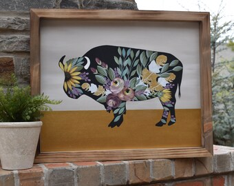 Floral Buffalo   Cottage Farmhouse Florals   Hand Painted