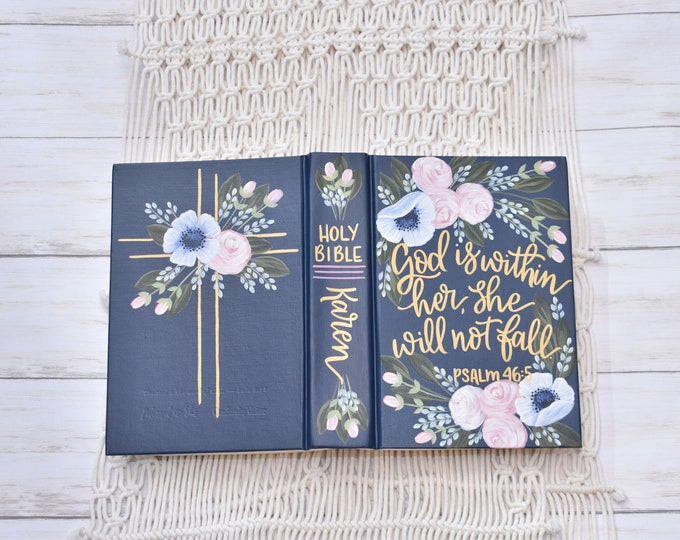 """Hand Painted Bible, Personal Custom Bible, Catholic """"Blessed is She"""" Bible, Personalized Keepsake"""