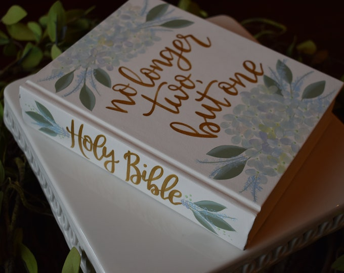 Hand Painted Bible // no longer two, but one // Wedding guestbook alternative // Personalized Keepsake