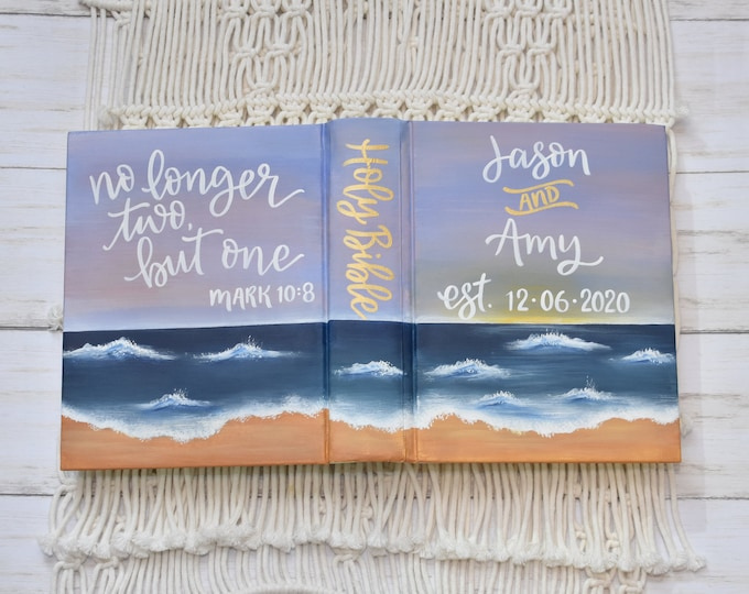 Hand Painted Bible, Blue Beach scene, Customized Personalized Keepsake