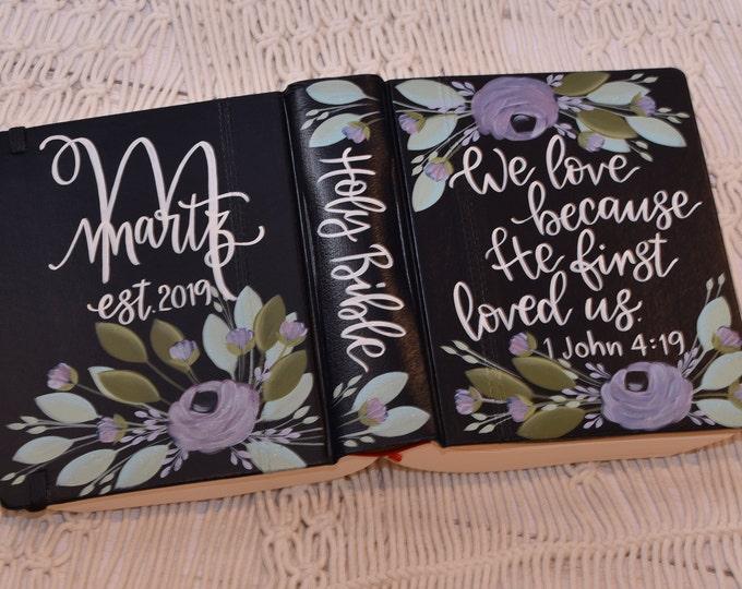 Hand Painted Bible // Wedding Bible // Personal Bible  // Personalized Keepsake