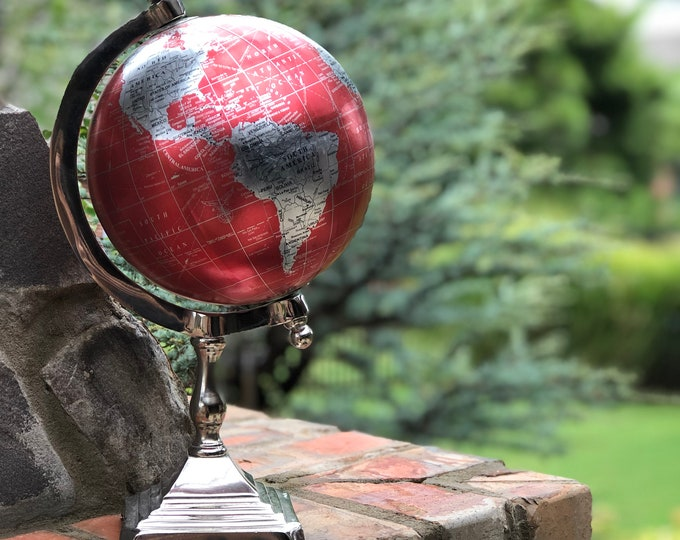 World Globe // Metallic Red and Silver // Home Decor