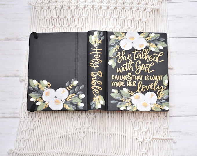 Hand Painted Bible // White Roses // Personal Bible // Joshua 24:15 // Custom Personalized Keepsake