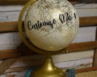 World Globe | Customize and Personalize | Cream White and Gold | Home Decor | Hand Painted | Gift Item