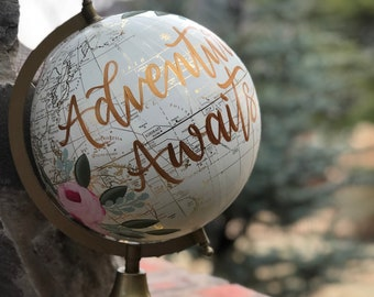 World Globe | Customize and Personalize | Cream White and Gold | Hand Painted | Gift Item