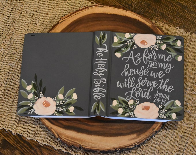 Hand Painted Bibles // As for me and my house we will serve the Lord // Personalized Keepsake