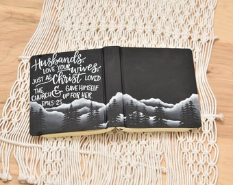 Hand Painted Bible // Quick Ship // Mountain Landscape // Personalized Keepsake