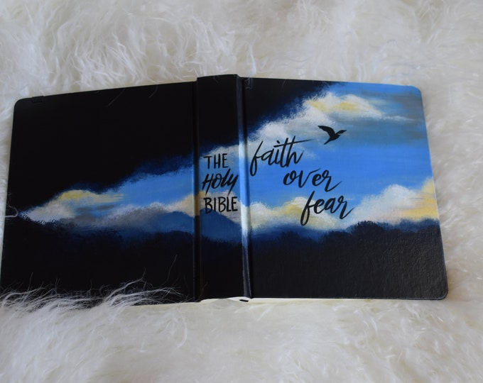 Hand Painted Bible | Faith over Fear | Groom Gift | Baptism Gift | Gift for Father | Custom Scripture Options | Personalized Keepsake