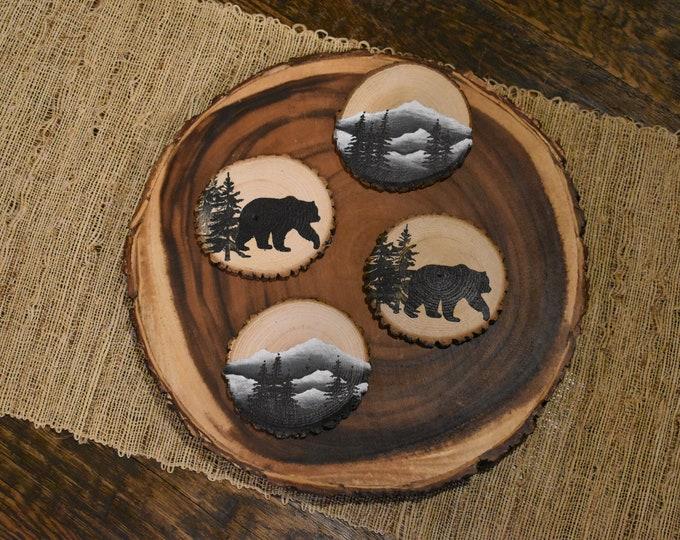 Wood slice coaster set | Trees | Mountains | Bears | Mountain home decor | Man Gift
