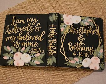Hand Painted Bible // Wedding Guestbook Alternative // Personalized Keepsake