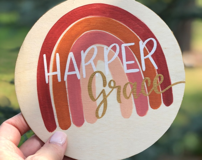 Personalized Baby Name, Round Wood Announcement, Rainbow Design, Hand-Painted Baby Announcement